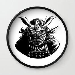 Samurai Warrior Wearing Mempo Woodcut Wall Clock