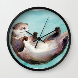 Swimming otter watercolor Wall Clock