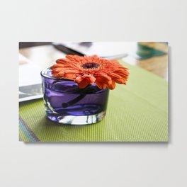 Orange Gerbera Flower on a Café Table Metal Print