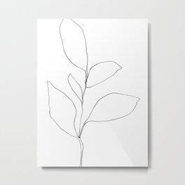 Five Leaf Plant Minimalist Line Drawing Metal Print