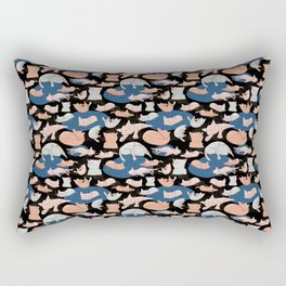 Cute pastel cats on black backgroung Rectangular Pillow