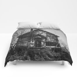 School's Out - Abandoned Schoolhouse in Iowa in Black and White Comforters