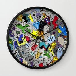 CARTOON GRAFFITI GREY Wall Clock