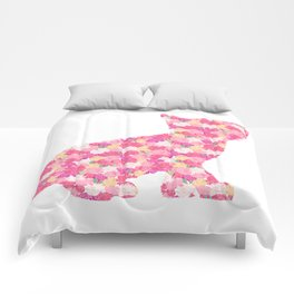 Kitten Silhouette with Peony Flowers Inlay Comforters