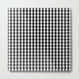 Classic Black & White Gingham Check Pattern Metal Print