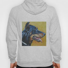 Beauceron dog art portrait from an original painting by L.A.Shepard Hoody