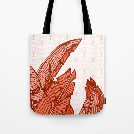 Red Tropical Leaves #society6 #decor #buyart Tote Bag