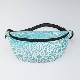 Blue Sky Mandala in Turquoise Blue and White Fanny Pack