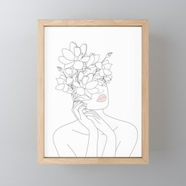 Minimal Line Art Woman with Magnolia Framed Mini Art Print