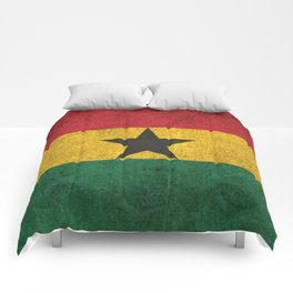 Old and Worn Distressed Vintage Flag of Ghana Comforters