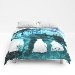 Double Exposure Wolf / Full Moon Wolves / Dark Forest Witch / Galaxy Space Wolf Comforters