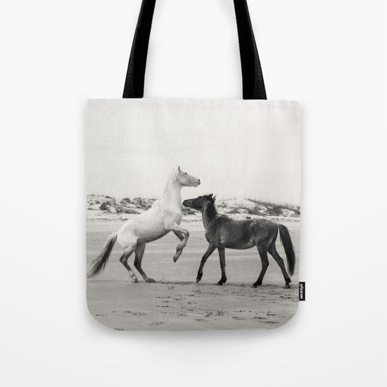 Wild Horses 5 - Black and White Tote Bag
