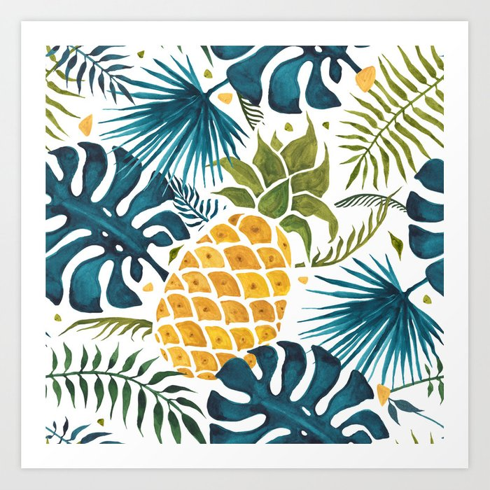 Golden pineapple on palm leaves foliage Kunstdrucke
