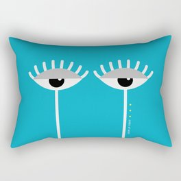 Unamused Eyes | White on Blue Rectangular Pillow