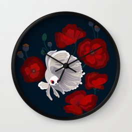 Bettas and Poppies Wall Clock