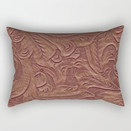 Chocolate Brown Tooled Leather Rectangular Pillow