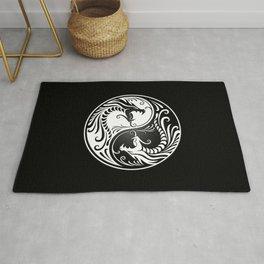 White and Black Yin Yang Dragons Rug