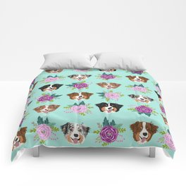 Australian Shepherd dog breed dog faces cute floral dog pattern Comforters