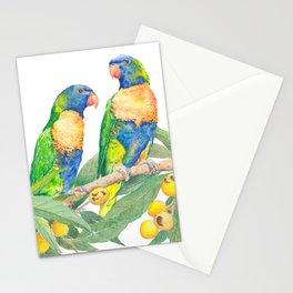 Rainbow Lorikeet Couple - watercolour of Australian parrots Stationery Cards