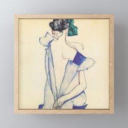"Egon Schiele ""Rückenansicht eines Mädchens im blauen Rock (Back view of  a girl in a blue dress)"" Framed Mini Art Print"