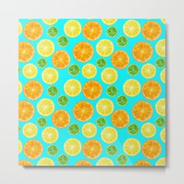 Citrus pattern with blue green background Metal Print