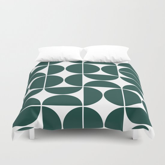 Mid Century Modern Geometric 04 Dark Green by theoldartstudio