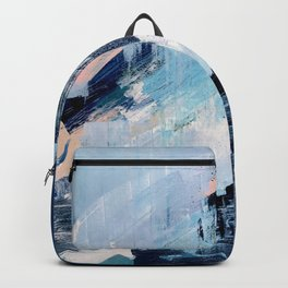 Vibes: an abstract mixed media piece in blues and pinks by Alyssa Hamilton Art Backpack