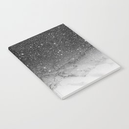 Stylish faux black glitter ombre white marble pattern Notebook