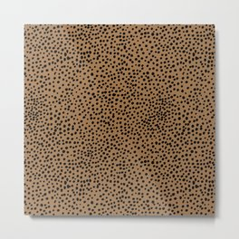 Little wild cheetah spots animal print neutral home trend rust copper black  Metal Print