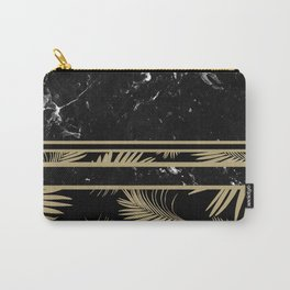 Black Marble Meets Tropical Palms #1 #decor #art #society6 Carry-All Pouch