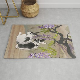 Two Rabbits Under Wisteria Tree Rug