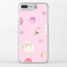 Pink Watercolor Flowers Clear iPhone Case