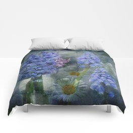 Painterly spring flowers on a grunge background Comforters