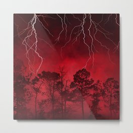 Savage Storm Neck Gator Red Firestorm Lightening Metal Print