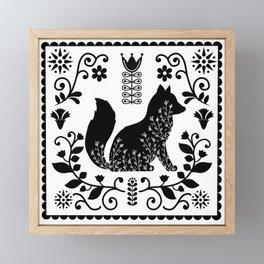 Woodland Folk Black And White Fox Tile Framed Mini Art Print