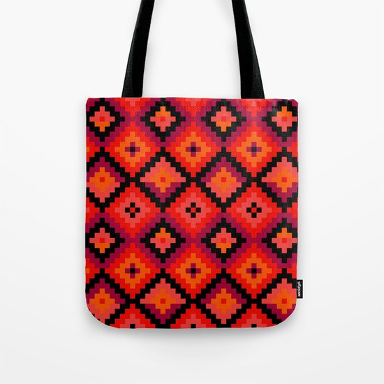 Aztec pattern - orange, pink, fuchsia Tote Bag