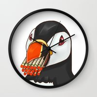 puffin Wall Clocks featuring Puffin' Puffin by t-shirt lifter