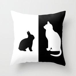 White Cat with black Rabbit Throw Pillow