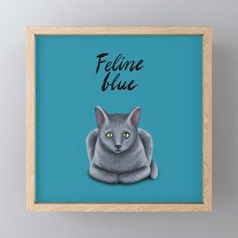Feline blue Framed Mini Art Print