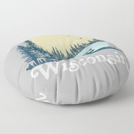 Vintage Wisconsin Dock on a Lake Floor Pillow
