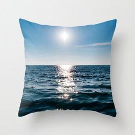 Sea Blue Sky sun Throw Pillow