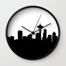 seattle cityscape silhouete Wall Clock