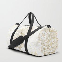 Hand drawn white and gold mandala confetti motif Duffle Bag