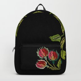 Embroidered Scandi Flowers Backpack