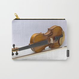 violin with bow over gray background Carry-All Pouch