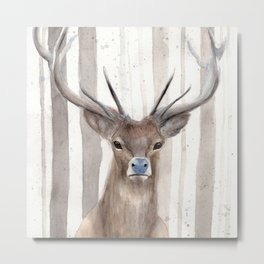 """Watercolor Painting of Picture """"Deer in Winter Forest"""" Metal Print"""