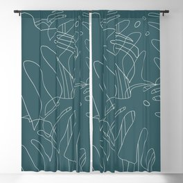 Monstera No2 Teal Blackout Curtain