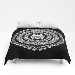Black and White Lotus Mandala Comforters