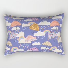 Spring Rain with Umbrellas Rectangular Pillow