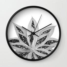 Gray Agave with Black Silver Glitter #1 #shiny #tropical #decor #art #society6 Wall Clock